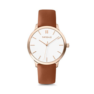 Rose Gold Watches for Women, Leather Watch Band, White Dial, Stainless Steel, Boyfriend Watch - Mockingbird Lane