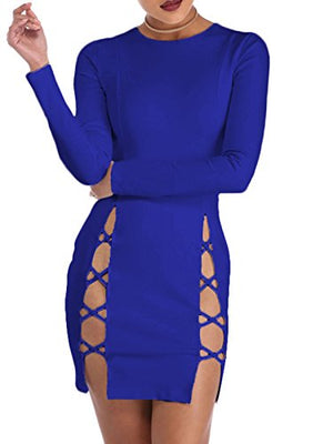 Bodycon Long sleeved Lace up Mini Club Dress