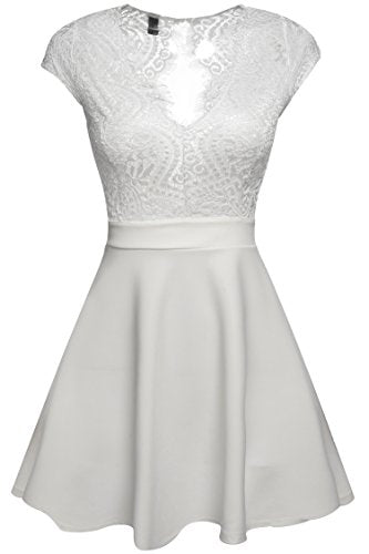 V-Neck Lace Floral Open Back Skater Cocktail Wedding Party Dress