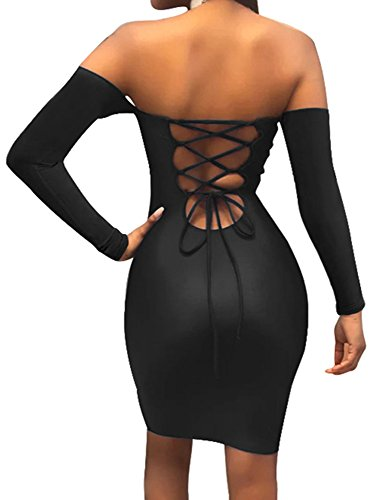 Women's Off Shoulder Back Lace Up Bodycon Mini Club Dress