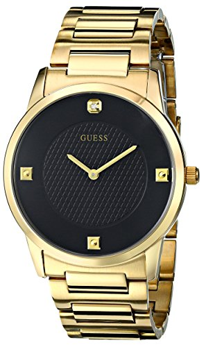 GUESS  Gold-Tone Stainless Steel Genuine Diamond Black Dial Bracelet Watch. Color: Gold-Tone (Model: U0428G1): Guess: Gateway