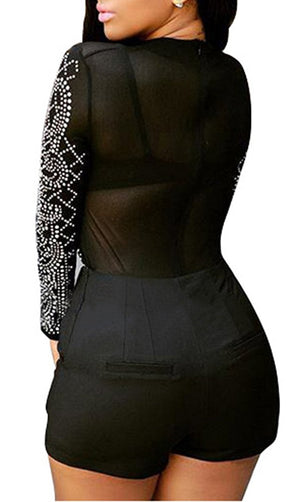 Women Rhinestone Mesh See Through Bodycon Clubwear Party Short Jumpsuit Rompers