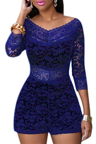 Womens Chic Lace Overlay Off-shoulder V-Neck Party Romper