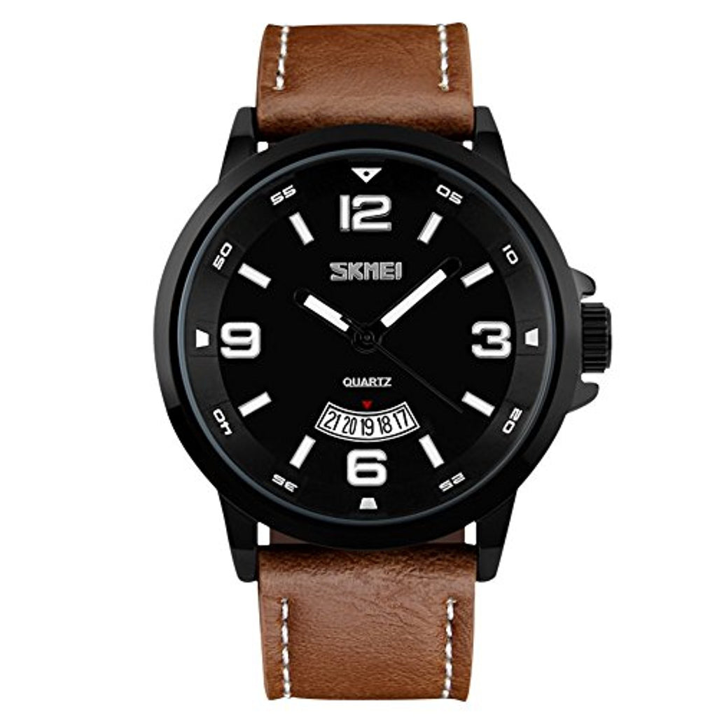 Men's Business Watch with Leather Band 30M Waterproof  - Brown Strap