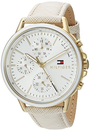 Tommy Hilfiger Women's Quartz Gold-Tone and Leather Watch, Colo r: Champagne (Model: 1781790)