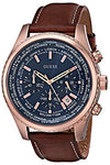 GUESS Men's Stainless Steel Casual Leather Watch, Color Rose Gold-Tone/Brown (Model: U0500G1)