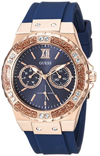 GUESS Women's Stainless Steel Japanese Quartz Watch with Silicone Strap, Blue, 20: ((Model: U1053L1)): Gateway