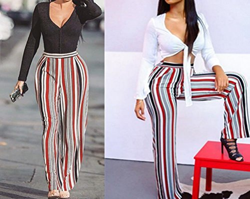Stripe Flowy Wide Leg High Waist Belted Palazzo Harem Pants