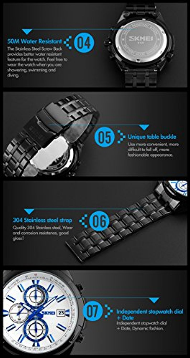 SKMEI 9107 Men Sports Japanese Quartz Date Clock Man Genuine Waterproof Stainless Steel Watch (Silver White)