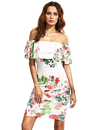 Floral Ruffle Off Shoulder Party Sexy Bodycon Dress