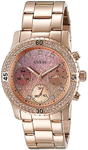 GUESS Women's Rose Gold-Tone Watch, Crystal-Accented Bezel and Stainless Steel Pilot Buckle