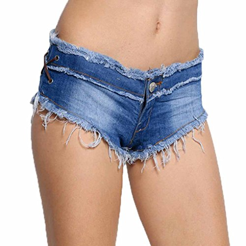 Women Sexy Cut Off Low Waist Denim Jeans Shorts Micro Mini Hot Pants