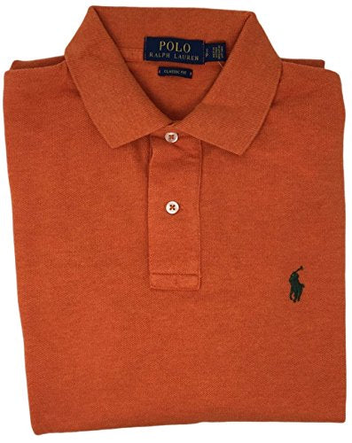 Polo Ralph Lauren Classic Fit Mesh Pony Logo Polo Shirt S, Dark Orange)