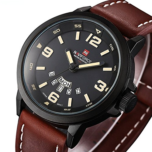 Analog Quartz Watch with Brown Leather Band - Black Brown