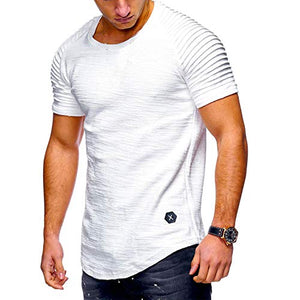 Men's Short Sleeve T-Shirt Casual Fashion Tee Decorative Slim Muscle