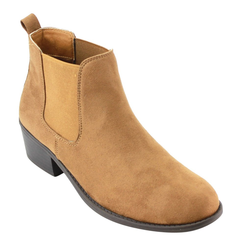 Women's Tildon-03 Low Heel Slip On Solid Ankle Boot