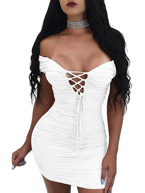 Women's Bodycon Ruched Off Shoulder Lace up Club Mini Dress