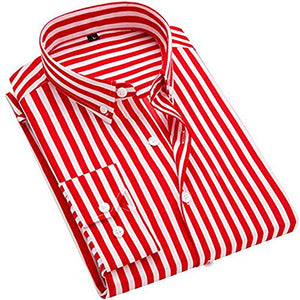 Men's Classic Casual Vertical Striped Slim Fit Long Sleeve Dress Shirts