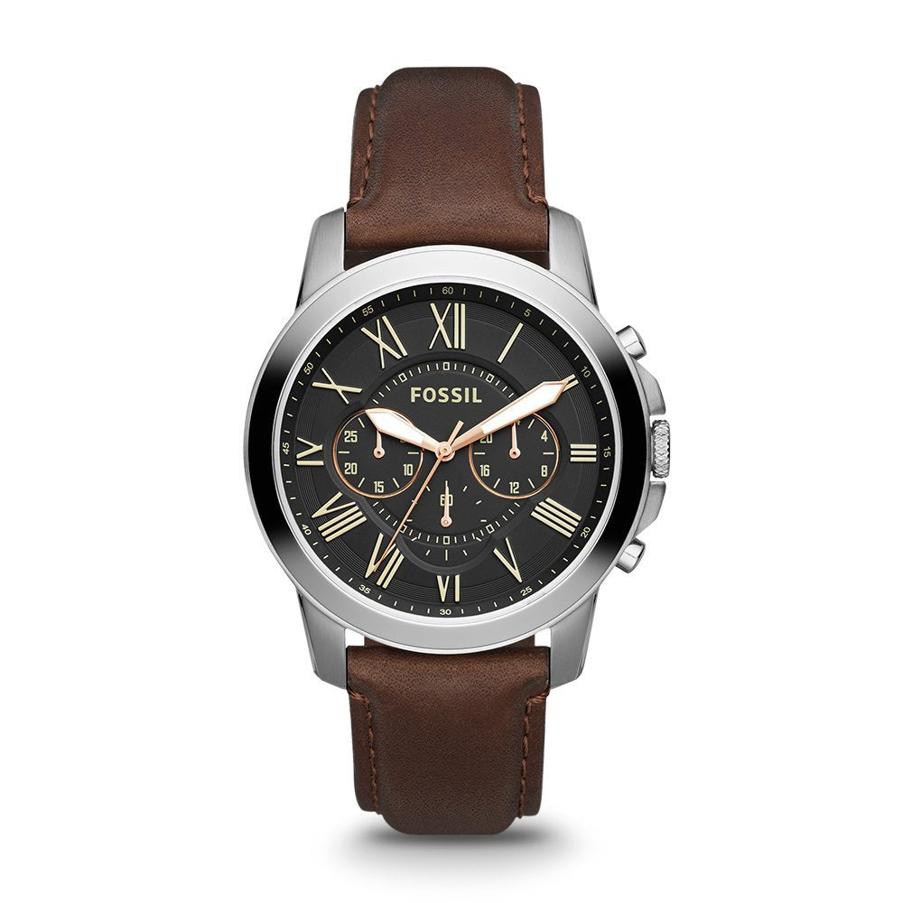 Grant Stainless Steel Watch with Brown Leather Band