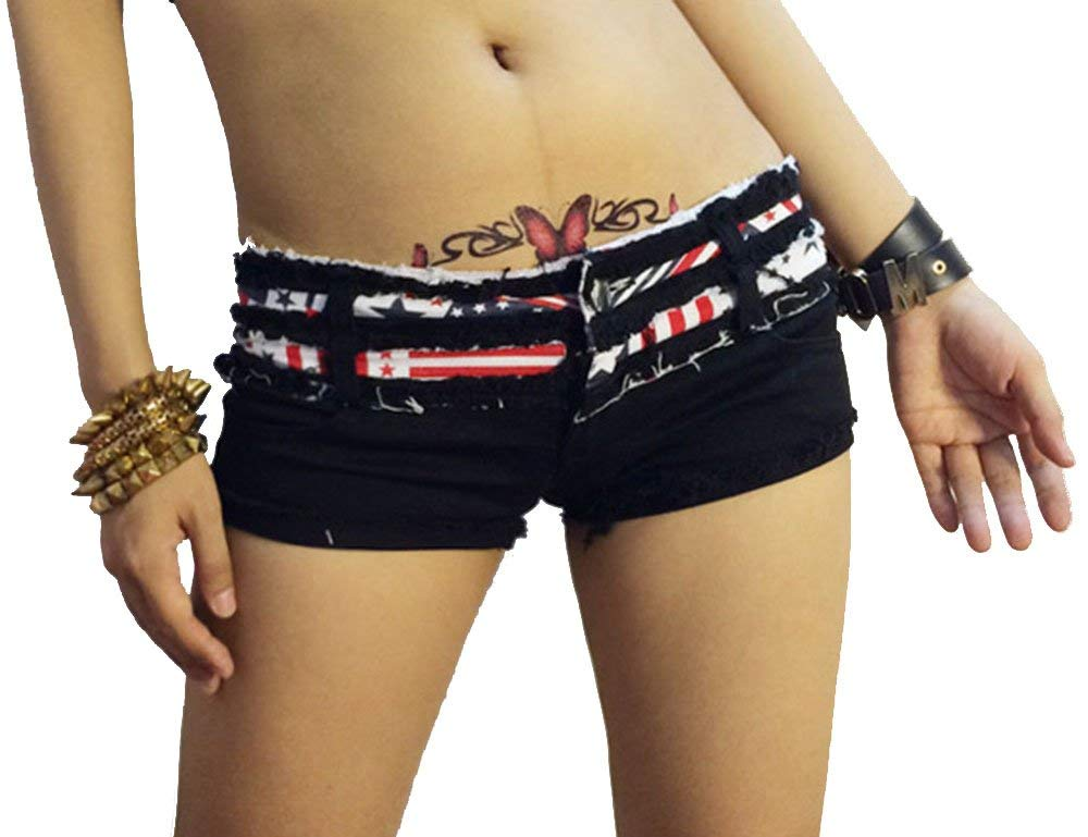 Women's Sexy Cut Off Ripped Micro Stretch Low Rise Cheeky Denim Shorts