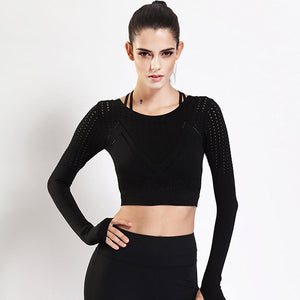 Black Sport Crop Top for Women with Thumb Holes Long Sleeve Hollow Shirts Running Fitness Workout