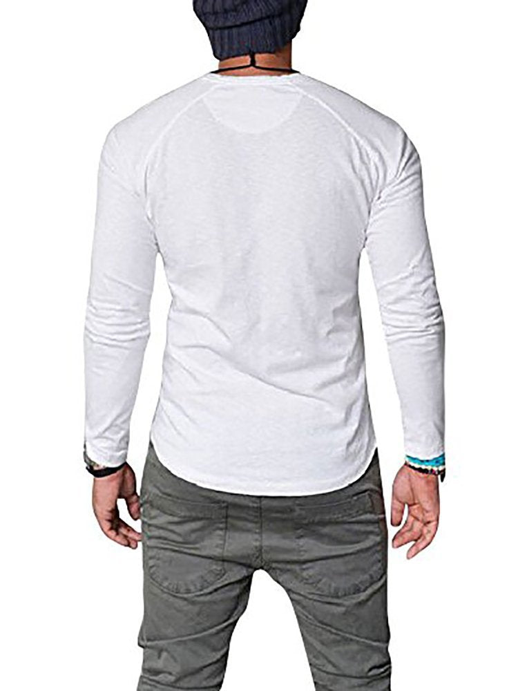 Mens Cotton V-Neck With Button Slim Fit Solid Color Long Sleeve Henley T-Shirts Tops