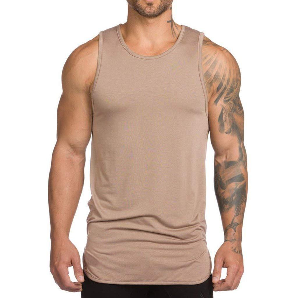 Mens Extended Scoop Workout Stringer Tank Tops Gym Shirts for Men Black/Khaki T05