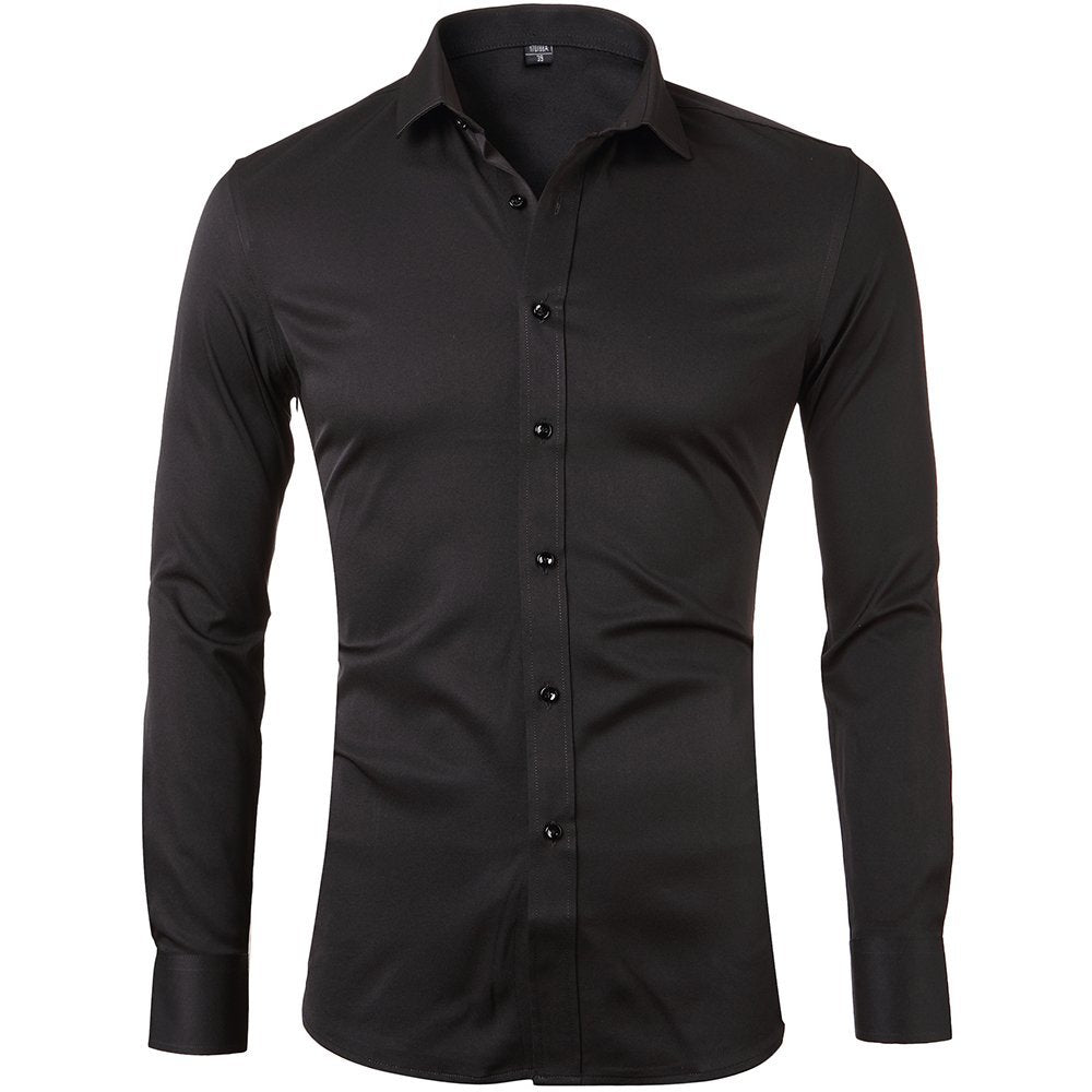 Men's Bamboo Fiber Dress Shirts: Elastic Slim Fit Solid Long Sleeve Casual Button Down Shirts