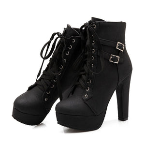 Autumn Round Toe Lace Up Ankle Buckle Chunky High Heel Platform Knight Martin Boots