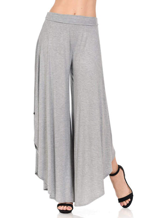 Women's Layered Wide Leg Flowy Cropped Palazzo Pants, 3/4 Length High Waist Wide Leg Capri Pants