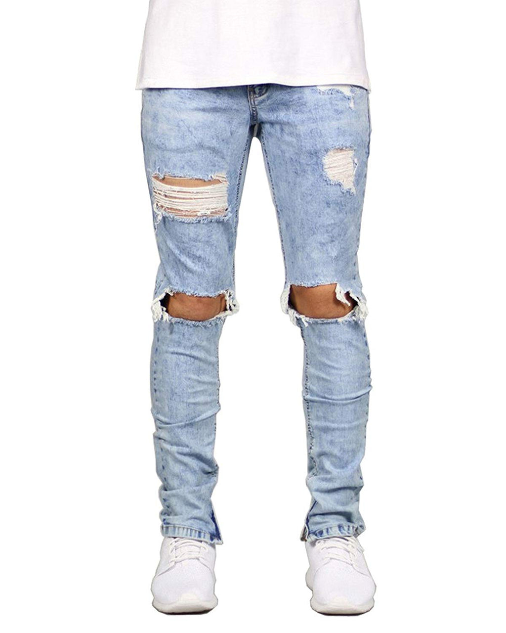 Men's Distressed Destroyed Ripped Slim Fit Skinny Stretch Denim Jeans