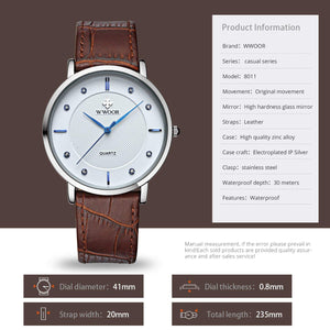 Waterproof Military Time Analog Ultra Thin Two Tone Watches for Men with Leather Strap