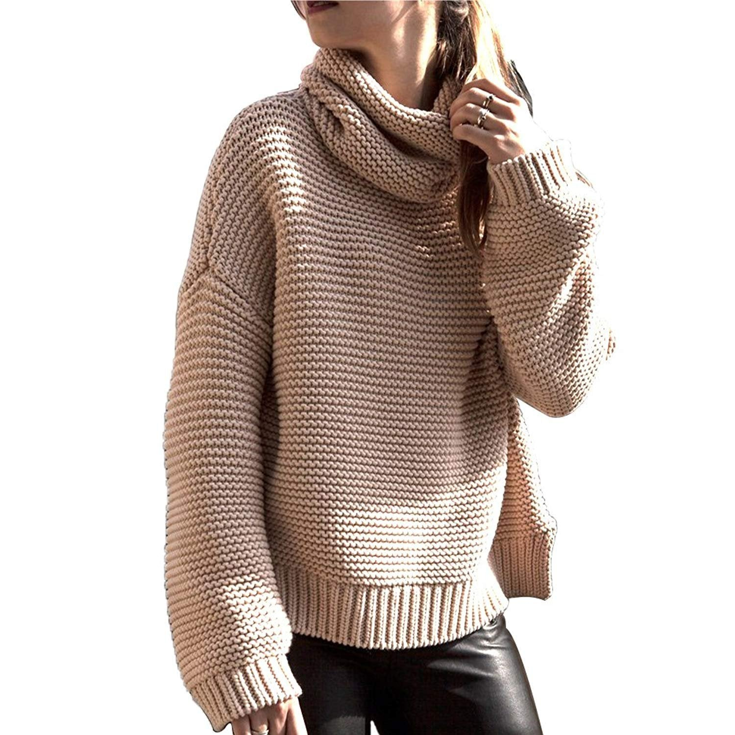 Long Sleeve Turtleneck Oversized Knit Sweater
