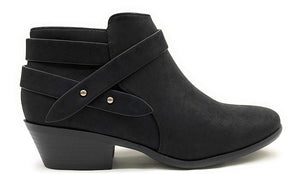 Western Ankle Boot Low Chunky Block Stacked Heel