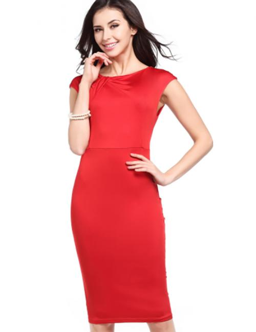 Red Tight Ruched Midi Dresses Cap Sleeves