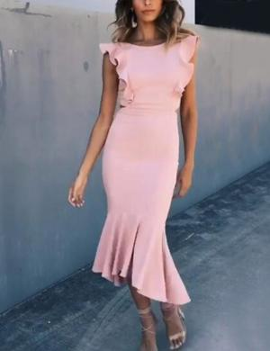 Pink Round Neck Bodycon Dress with an Irregular Hem