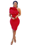 Red Single Shoulder Layer Ruffle Evening Dress
