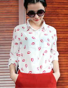 Snazzy White Lips Printed Single Breasted Shirts With Pocket Weekend Fashion