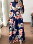 Floral Print Round Neck Long Sleeve Maxi Dresses