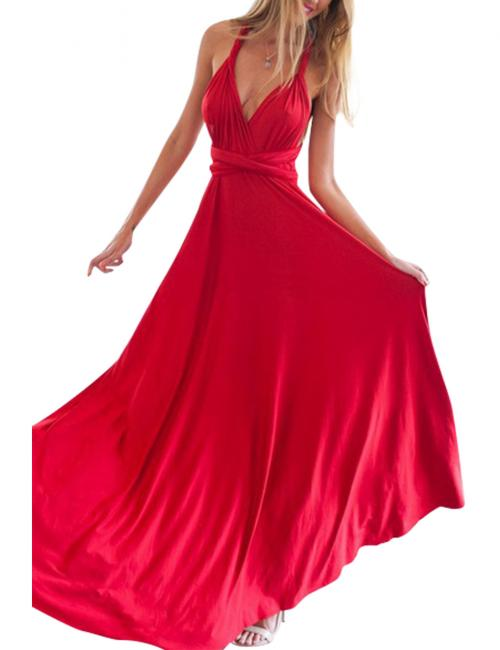 Red V Neck Drapery Hem Maxi Dress Multi-Way Wrap Straps