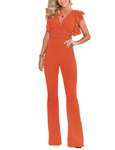 Orange Ruched Sleeves High Waist Rompers Zipper
