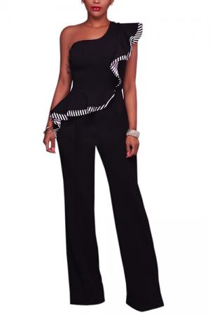 Black Ruffled Overlay Wide Leg Jumpsuit