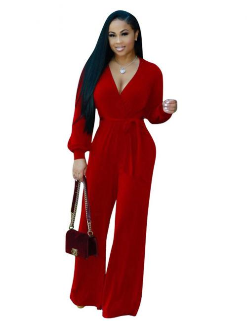 Wide Leg Maxi Rompers V-Neck Jumpsuit