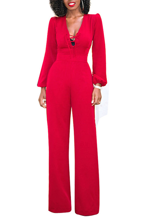 Red High Waist Side Pockets Jumpsuit