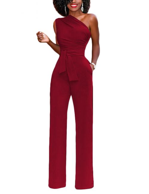Red Defined Waist Belt Romper Single Shoulder