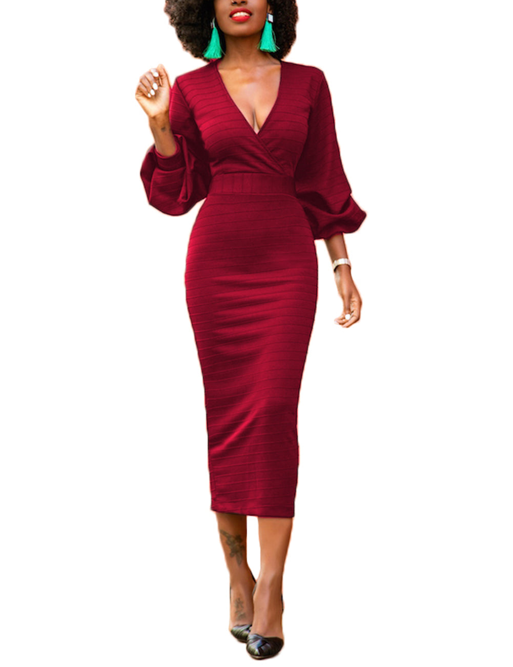 Catching Wine Red Puff Sleeve V-Neckline Sheath Dress Zipper Back