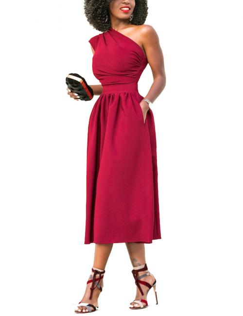 Uniquely Red Wide Flare Dress Midi Length