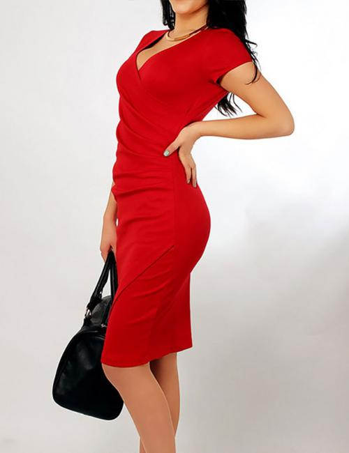 Red Criss Cross Pencil Midi Dresses Knee Length