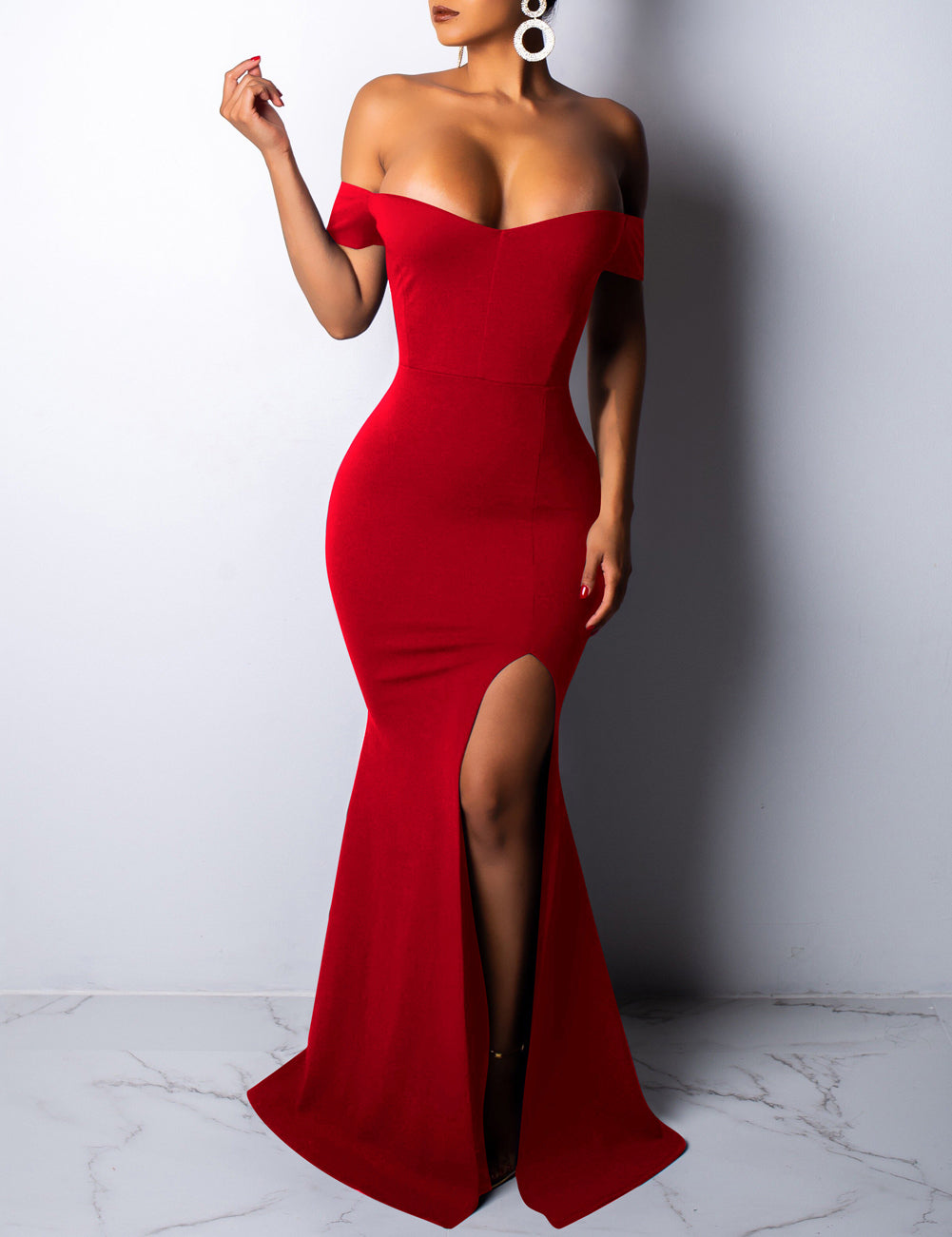 Gracious Red Split Floor Length Bare Shoulder Evening Dress