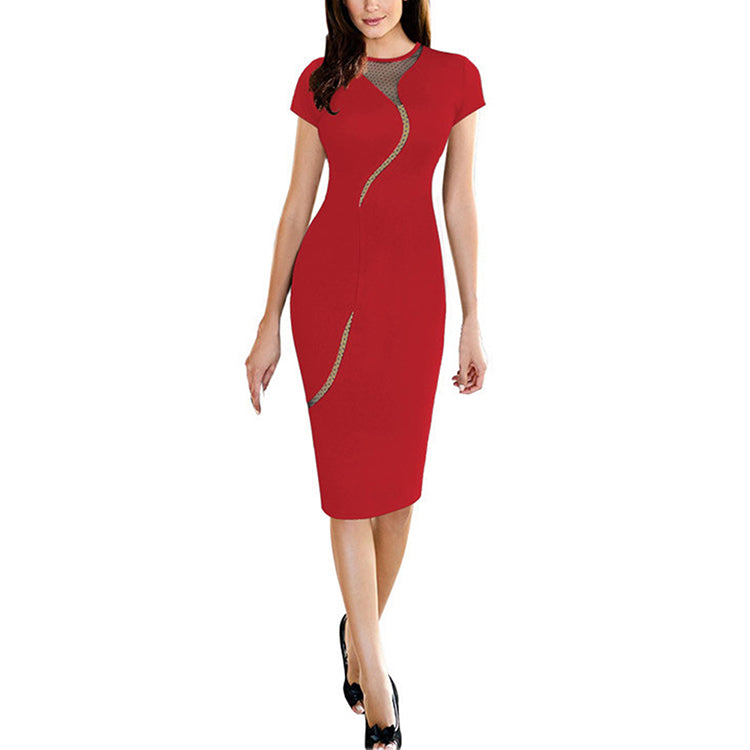 Mesh Stitching Bodycon Tight Casual Fancy Sexy Dress